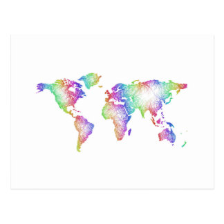 Rainbow World map Postcard