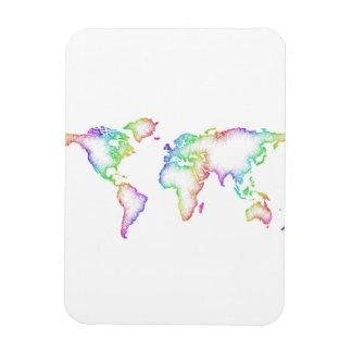 Rainbow World map Rectangular Photo Magnet