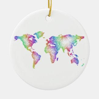 Rainbow World map Round Ceramic Ornament