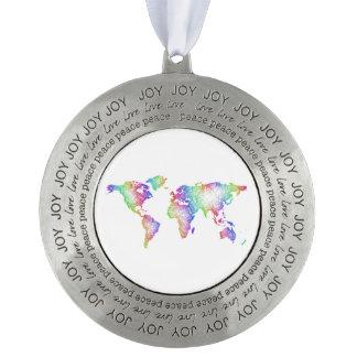 Rainbow World map Round Pewter Ornament