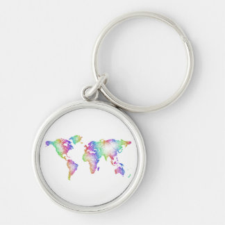 Rainbow World map Silver-Colored Round Keychain