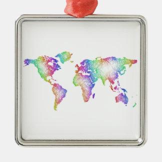 Rainbow World map Silver-Colored Square Ornament