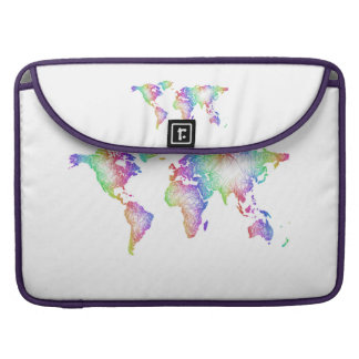 Rainbow World map Sleeve For MacBooks