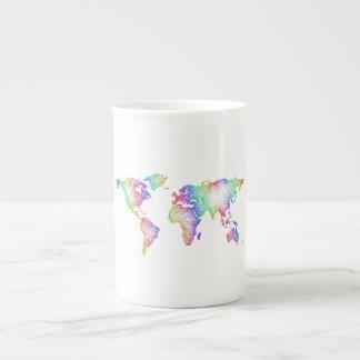 Rainbow World map Tea Cup