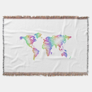 Rainbow World map Throw Blanket