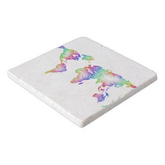 Rainbow World map Trivet