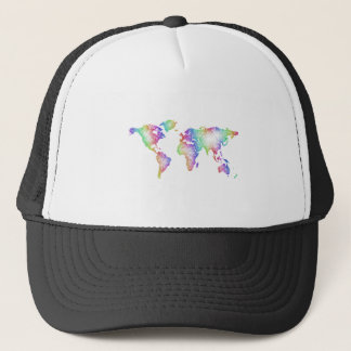 Rainbow World map Trucker Hat