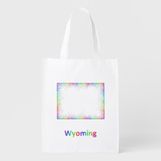 Rainbow Wyoming map Grocery Bag