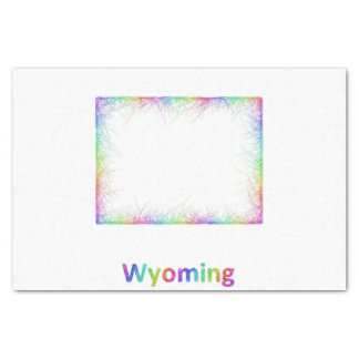 Rainbow Wyoming map Tissue Paper