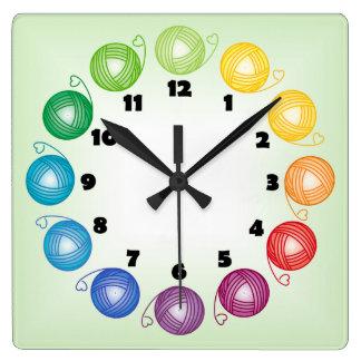 Rainbow yarn ball Square Wall Clock with numbers