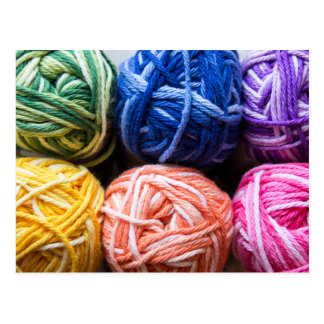 Rainbow yarn postcard