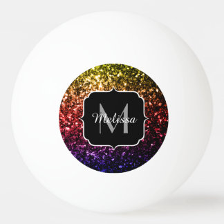 Rainbow yellow red purple sparkles Monogram Ping Pong Ball