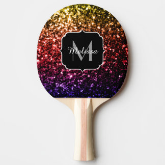 Rainbow yellow red purple sparkles Monogram Ping Pong Paddle