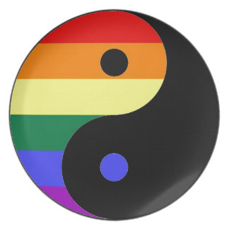 Rainbow Yin and Yang - LGBT Pride Rainbow Colors Dinner Plates