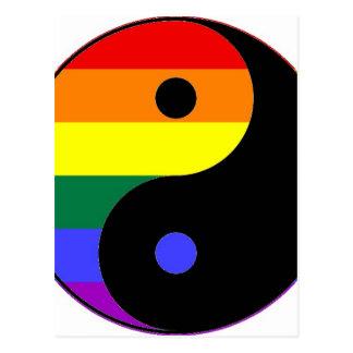 Rainbow Yin and Yang - LGBT Pride Rainbow Colors Postcard
