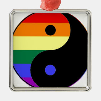 Rainbow Yin and Yang - LGBT Pride Rainbow Colors Silver-Colored Square Ornament