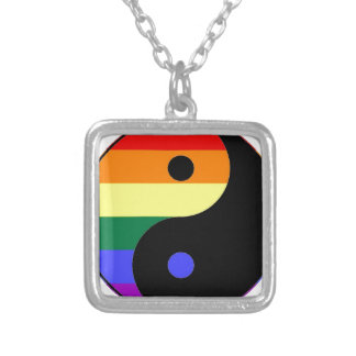 Rainbow Yin and Yang - LGBT Pride Rainbow Colors Silver Plated Necklace
