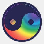 Rainbow Yin Yang Symbol Round Stickers
