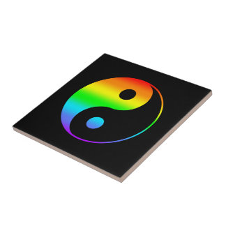Rainbow Yin Yang Symbol Tile