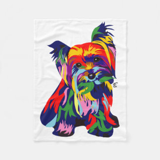 Rainbow Yorkie Cuddler Fleece Blanket