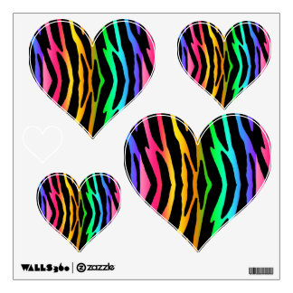Rainbow Zebra Animal Print Stripes Teen Girl Wall Decal