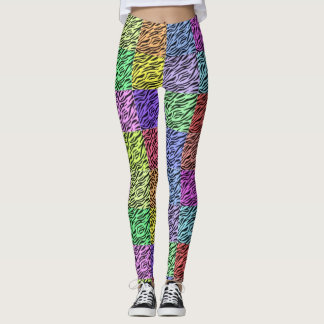 rainbow zebra EDM colors coachella concert fest Leggings