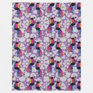 Rainbow Zebra Fleece Blanket