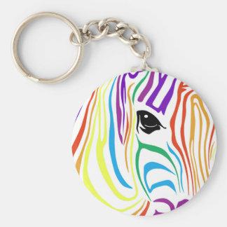 Rainbow Zebra Keychain