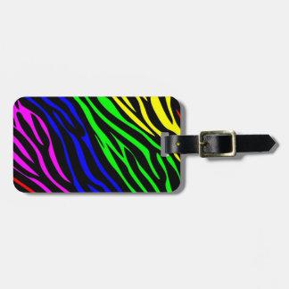 Rainbow zebra luggage tag