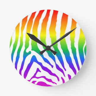 Rainbow Zebra Pattern Round Clock