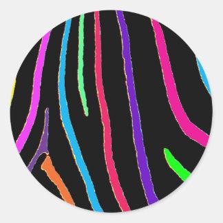 Rainbow Zebra Print Round Sticker