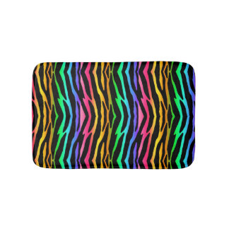 Rainbow Zebra Safari Animal Print Bathroom Mat