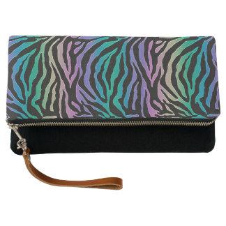 Rainbow Zebra Striped Animal Print Black Purse