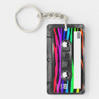 Rainbow Zebra Stripes Cassette Double-Sided Rectangular Acrylic Keychain