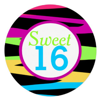 Rainbow Zebra Stripes Sweet Sixteen Birthday Party Personalized Announcements