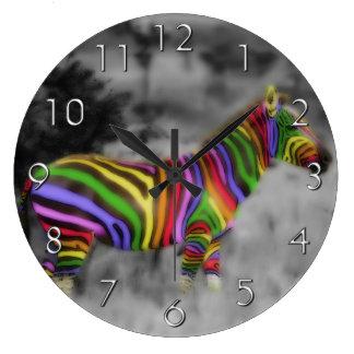 Rainbow Zebra Wallclock