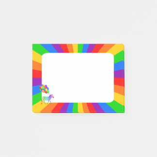 Rainbow Zebra with Colorful Party Balloons Post-it® Notes