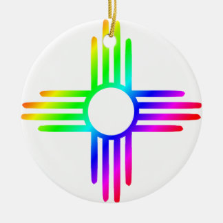Rainbow Zia Ceramic Ornament
