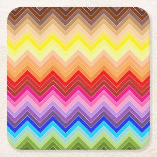 Rainbow Zig Zag Square Paper Coaster