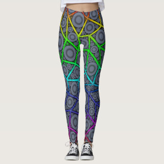 Rainbow Zigzag Circle Pattern Womens Leggings