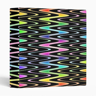 Rainbow Zigzag Over Black Modern Bright Pattern Vinyl Binder