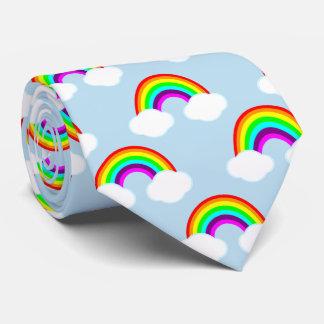 Rainbows and Clouds in Blue Skies Tie