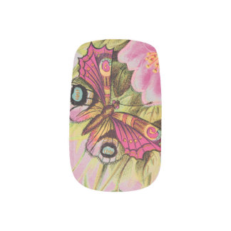 Rainbows and Raindrops Butterfly Minx Nail Art