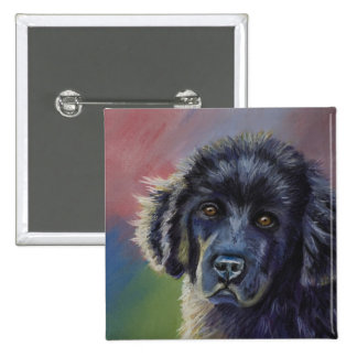 Rainbows and Sunshine - Newfoundland Dog Art 2 Inch Square Button