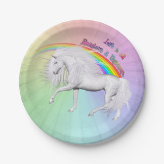 Rainbows and Unicorns Paper Plate