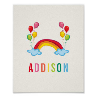 Rainbows & Balloons Colourful Nursery Kids Wall Poster