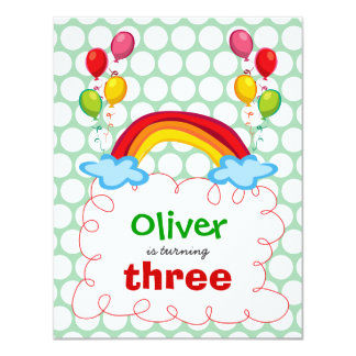 Rainbows & Balloons Kids Birthday Photo Invitation