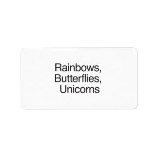 Rainbows Butterflies Unicorns Labels