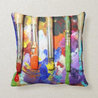 Rainbows In Progress Artist's Brushes Throw Pillow