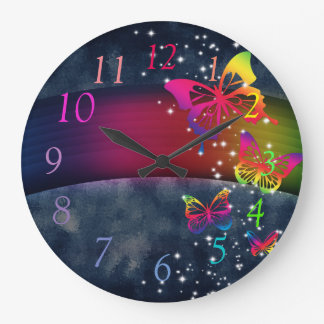 Rainbows n Butterflies Large Clock